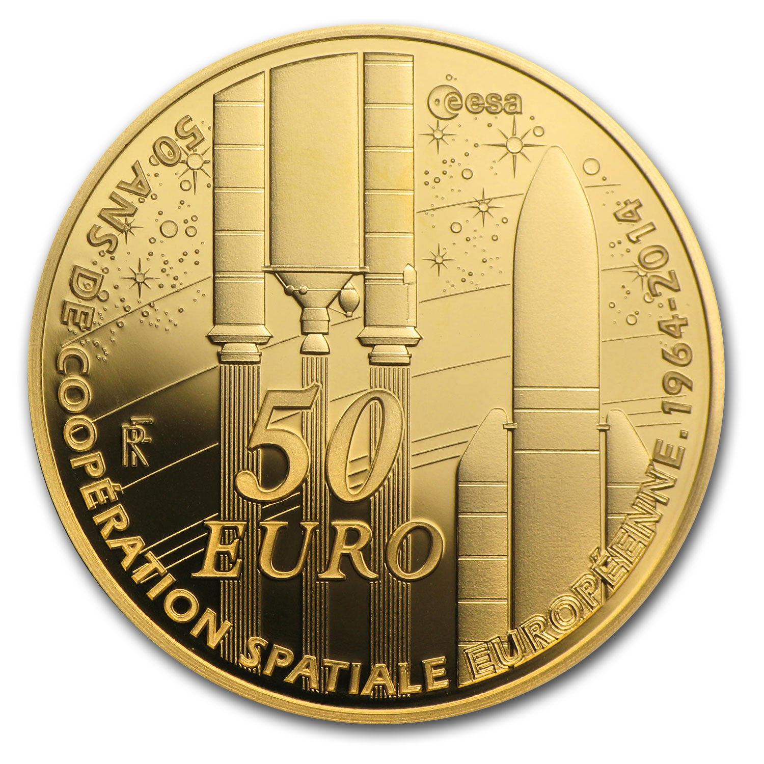2014 €50 1/4 oz Gold Europa Series - 50th Ann. of European Space